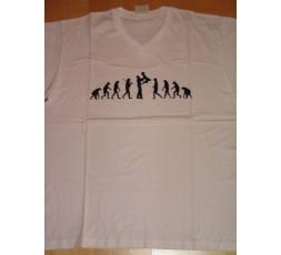 T-Shirt weiß V-Ausschnitt Evolution