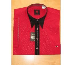 Hemd Kurzarm rot mit schwarz - 7785L2K