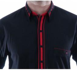 Hemd Langarm schwarz/rot - 3049ML