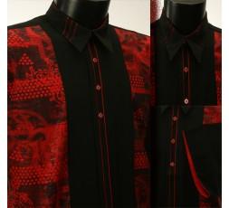 Hemd Langarm schwarz/rot gemustert - 4700L10L