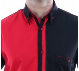 Hemd Kurzarm rot/schwarz - 3055MK