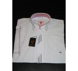Hemd Kurzarm weiß mit schwarzer Leiste - 4448L104K