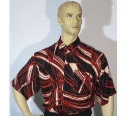 Kurzarmhemd schwarz/rot/creme gemustert Gr. S - 1125MK