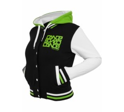 Urban Dance 3 Tone Collegejacke Ladies schwarz/weiss/limegreen