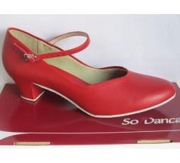 CH791 rot - Tanzschuhe mit Chromledersohle - 4 cm Absatz