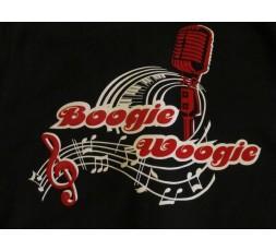 T-Shirt Dame schwarz Motiv Boogie Woogie Microfon 2-farbig - Flock hinten