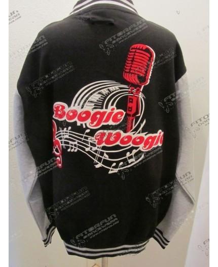 Collegejacke schwarz/grau  Flock Microfon Boogie Woogie (CJ-SR-Microfon-FLH)