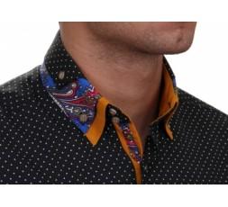 Hemd Langarm schwarz gepunktet Slimfit - 30151ML SLIM