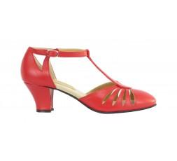 9210 Swing Balboa Tanzschuhe rot mit Chromledersohle - 5 cm Absatz
