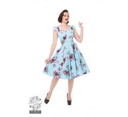 Vintage Kleid in hellblau mit Blumendruck